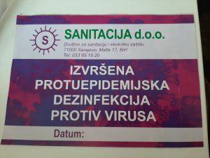 Naljepnica koju Sanitacija d.o.o. postavlja na objekte u kojima je izvršena dezinfekcija protiv virusa